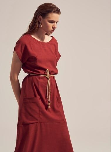 Monamoda Düşük Kol Keten Karışımlı Midi Elbise Kiremit